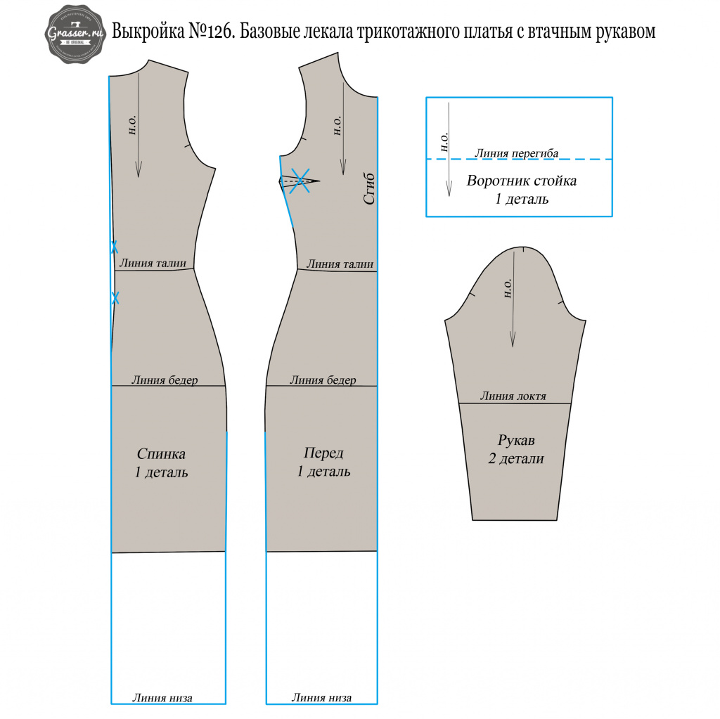 aace65436ce0e92 Мастер-класс: пошив платья из трикотажа по базовым лекалам №126